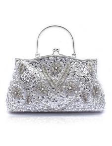 Popular Silver Sequin Beaded Kiss Lock Evening Bag