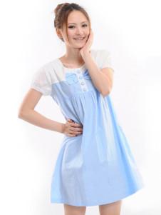 Blue Short Sleeves Bow Cotton Maternity Dress