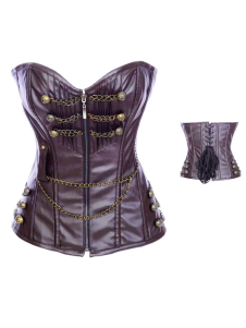 Cool Chocolate Leather Chain Decoration Womens Corset