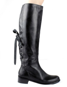 Sweet Black Cow Leather Back Lace Up Over The Knee Boots