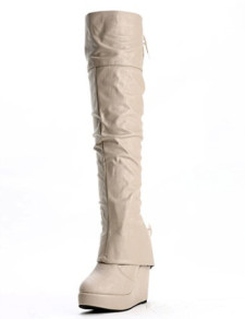 Trendy Apricot PU Leather Back Lace Up Womens Wedge Over The Knee Boots