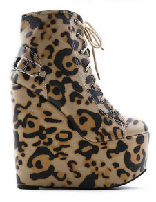 Sexy Coffee Leopard Print PU Leather Lace Up Womens Wedge Boots