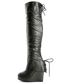 Sexy Black PU Leather Back Lace Up Womens Wedge Over The Knee Boots