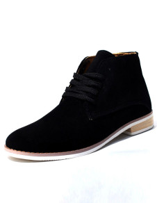 Gentle Black Nubuck Lace Up Rubber Sole Mens Chukka Boots
