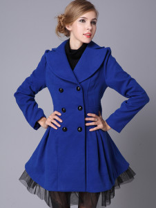 Vintage Blue Wool Double Breasted Womens Long Coat