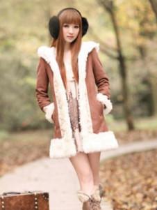 Sweet Coffee Wool Hooded Long Coat For Women