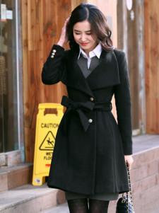 Elegant Black Cashmere Womens Long Coat
