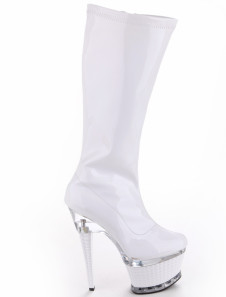 White Patent Leather Zipper Womens Sexy High Heel Boots