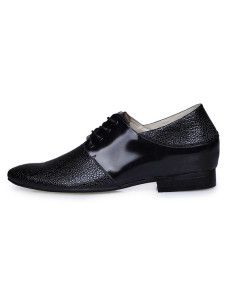 Trendy Split Lace Up Cow Leather Elevated Rubber Sole Mens Dress Shoes