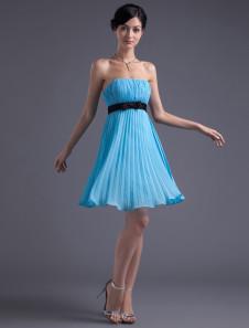 Empire Waist Blue Chiffon Bow Strapless Short Bridesmaid Dress