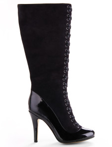 Sexy Black Pointed Toe Sheepskin Suede Lace Up Womens Knee High Boots