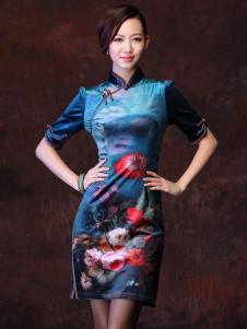 Blue Floral Print Acetate Short Sleeves Cheongsam Dress for Women
