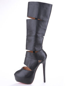 Unique Black Cut Out Cow Leather Womens High Heel Knee High Boots