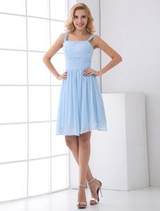 Aline Light Sky Blue Chiffon Short Wedding Bridesmaid Dress