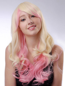 Fantastic Gradient Color Faux Curly Fashion Long Halloween wig