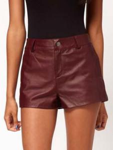 Shaping PU Leather Womens Shorts