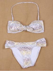 Sexy Modern White Leopard Print Womens Bikini Set