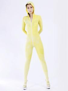 Concise Yellow Unisex Bodysuit Latex Catsuits