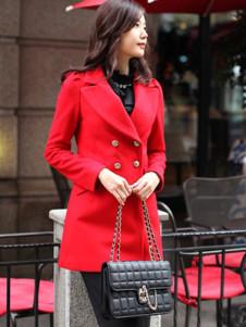 Red Turndown Collar Long Sleeves Gabardine Womans Coat