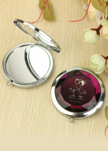 Beautiful Burgundy Crystal Hand In Hand Personalized Wedding Makeup Mirror