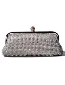 Elegant Silver Horizontal Shape Rhinestone Glitter Satin Evening Bag For Woman