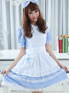 Sweet Blue Puff Short Sleeves Cotton Lolita Dress