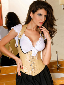 Sexy Yellow Lace Up Grommets PU Leather Corset For Women