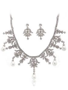Leaf Pattern Silver Metal Pearl Brides Wedding Jewelry Set