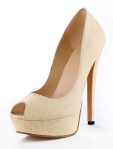 Dress Beige Faux Leather Peep Toe High Heels
