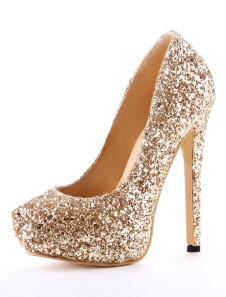 Gold Spike Heel Glitter Faux Leather Womens High Heels