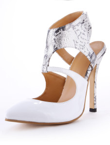Pointed Toe Snake Print Faux Leather High Heels