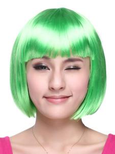 Green Kanekalon Straight Chic Short Halloween wig