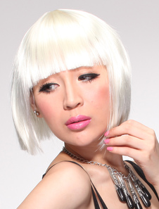 Beige Straight Synthetic Short Halloween wig For Women