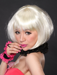 White Synthetic Straight Quality Short Halloween wig For Women