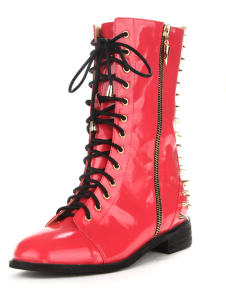 Stylish Watermelon Spikes Patent PU Leather Womens Lace Up Boots