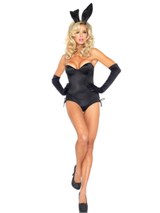 Strapless Black Polyester Sexy Bunny Costume
