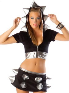 Zipper Black Polyester Sexy Bunny Costume For Women
