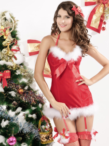 Sexy Christmas Costume Red Halter Christmas Lingerie Slim Fit Christmas Lingerie