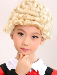 Light Gold Short Full Volume Curls Kanekalon Halloween wig For Kids