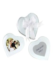 Transparent 2Piece Heart Shaped Glass Coaster Favors for Wedding