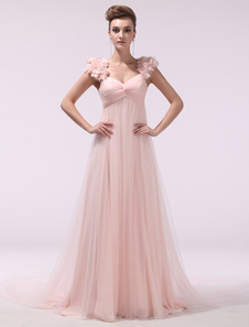 Peach Prom Dresses 2017 Long Chiffon 3D Flowers Evening Dress Empire Twisted Floor Length Party Dress With Train