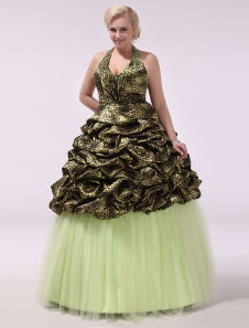Ball Gown Green Tulle Halter Quinceanera Dress Milanoo