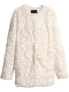 Ecru White Crewneck Long Sleeves Womens Faux Fur Coat