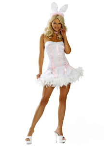 Quality White Faux Fur Sexy Bunny Costume For Women
