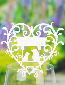 Sweet Heart White Birds Specialty Paper Wedding Place Cards Set of 12