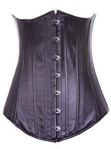 Black Chic Grommets PU Leather Corset For Women