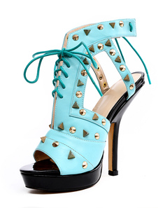 Blue Grommets PU Leather Glamourous Womens Peep Toe Shoes