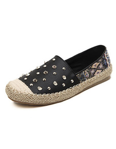 Sequin Studded Rubber Sole PU Leather Womens Canvas Shoes