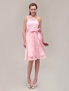 OneShoulder KneeLength Lace Bridesmaid Dress With Belt