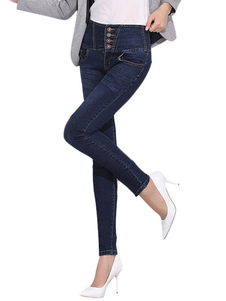 High Waisted Skinny Jeans with Buttons
